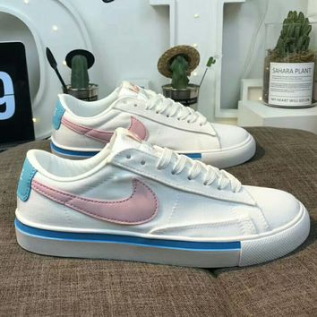 NIKE new fashion women pink big hook canvas shoes White pink