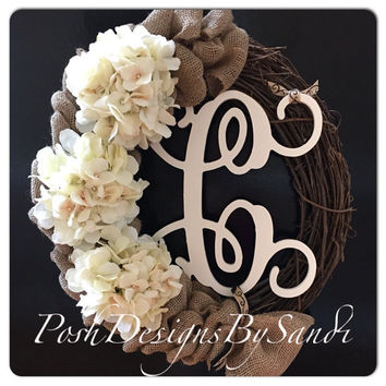 Grapevine Wreath With Initial-Burlap Wreath-Hydrangea Wreath- Front Door Wreath-Summer Wreath-Year Round Wreath-Fall Wreath- Monogram Wreath