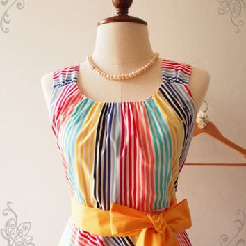 Flash Sale Rainbow Bright Skater Dress, Stripe Colorful Sundress, Vintage Retro Party Dress, Birthday Anniversary Graduation Dress, XS-XL...