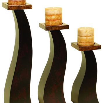 Wood Candle Holder Set Of 3 An Special Occasion Decoration