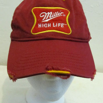 A RUGGED Vintage Cranberry Colored MILLER High Life Cap By BiO-DOME.os