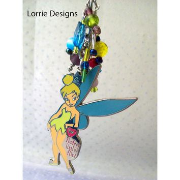 Tinkerbell Purse Charm, Zipper Pull, Perfect Little Flirt Beaded Accessory in Yellow Blue Pink