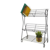 Midcentury Black Metal Record Holder Black Metal Plant Stand Magazine Rack Industrial