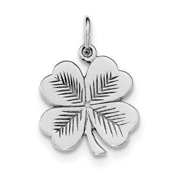 Sterling Silver Rhodium-plated Polished/Textured 4 Leaf Clover Pendant QC8652