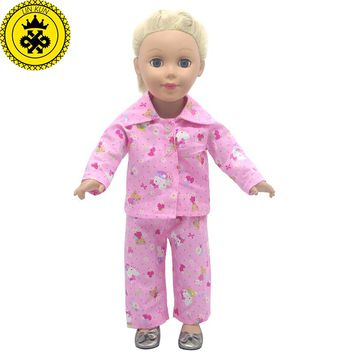 American Girl Dolls Cute Kitty Pink Pajamas Doll Accessories Madame Alexander  Doll Clothes Fit 18 inch Clothes MG-254