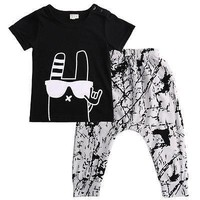 Graffiti Printed Baby Tshirt and Pants 2pc set