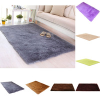 Anti-Skid Fluffy Shaggy Area Rug Dining Home Carpet Floor Mat 80X50CM 7Color high quality