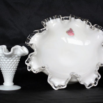 Fenton Milk Glass, Silver Crested, Wedding Decor, Candy Dish, Trinket Bowl, Bud Vase, Antique Glass, Jewelry Dish, Farmhouse Decor