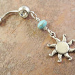 Celestial Sun Belly Button Ring Jewelry with Turquoise Stone