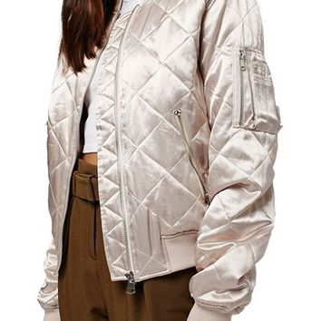 Topshop Shiny Quilted Bomber Jacket | Nordstrom
