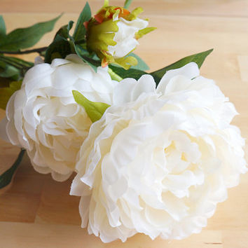 White Peony – silk flower – artificial flower – flower headpiece – wedding décor – wedding boquet (FB08-1)