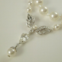 Pearl Bridal Necklace Single Strand Swarovski Pearl & Rhinestone Backdrop Classic Art Deco 1920s