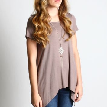 Mocha Asymmetrical Hem Top with Detachable Necklace