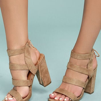 Sydney Beige Suede High Heel Sandals
