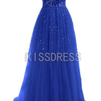 Royal Blue Beading Dress/Long Prom Dress/Formal Dress/Wedding Dress/Vintage Dress/Prom Dress 2014