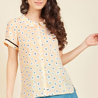 Let's Do Lovely Button-Up Top in Garden | Mod Retro Vintage Short Sleeve Shirts | ModCloth.com