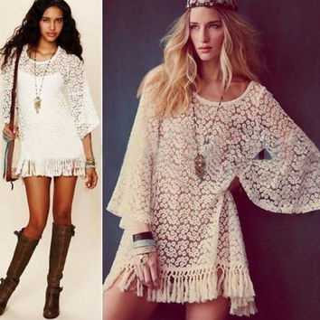 Lady Sexy Hippie Boho Bell Sleeve Gypsy Festival Fringe Lace Mini Dress