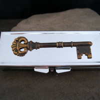 Silver Steampunk Key Pill Box