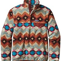 PATAGONIA WOMENS LIGHTWEIGHT SYNCHILLA SNAP T PULLOVER TIMBER TWIST CINDER RED SMALL