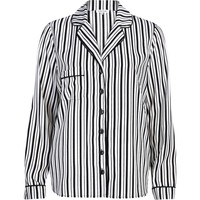 BLACK AND WHITE STRIPE SATIN PYJAMA TOP