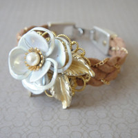 Chained suede vintage flower bridal bracelet by sayagdis on Etsy