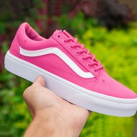 VANS Fashion Women Flat Shoes Rose red lazy shoes B-ALS-XZ Pink