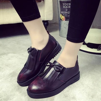 Causal New Elegant Comfortable Winter Korean Vans Shoes Low-cut Casual Flat Tassels Loafer Shoes [9432944650]