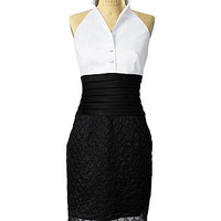 Black and White Halter Dress - Short Dresses - DRESSES - Jessica Simpson Collection