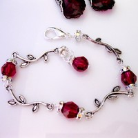 Swarovski Crystal 8mm Ruby, Rhinestones Rondeand Antique Silver - Wedding Jewelry | Handmade