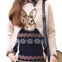 Rabbit Print Knitted Pullover