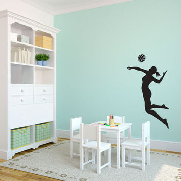 Volleyball Player Spiking Silhouette Sports - Wall Decal Custom Vinyl Art Stickers