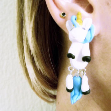 unicorn ear jacket,animal dangling fake gauge ,two part earrings,clinging studs,Two Sided Front Back Earring,Asymmetric earstud,faux gauges