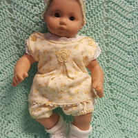 "15 inch Baby Doll ""Golden Blossoms"" doll outfit Will fit Bitty Baby® Bitty Twins®  dress bloomers socks headband P8"