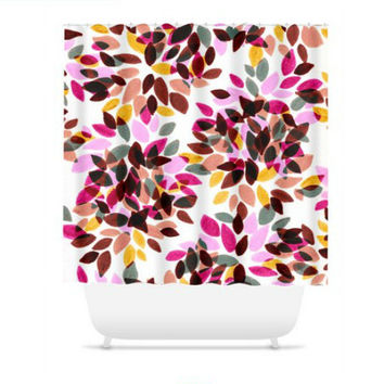 DAHLIA DOTS 5, Fine Art Floral Painting Shower Curtain Washable Pastel Pink Fuchsia Rust Yellow White Home Decor Colorful Modern Bathroom