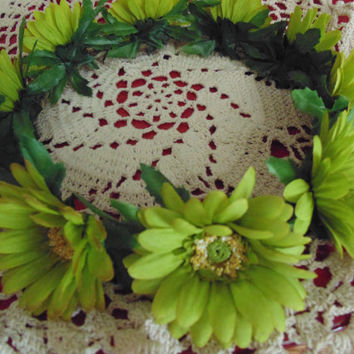 Gerbera Daisy Flower Crown Lime Green Autumn Wreath Wedding Tiara Renaissance Faire Crown