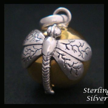 Harmony Ball, Sterling Silver Dragonfly, Symbol of Prosperity