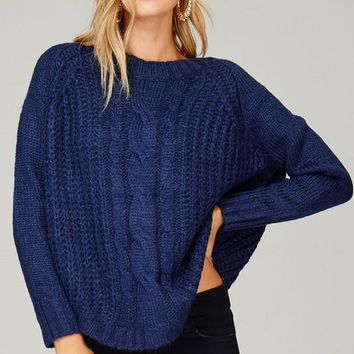 Blue Chunky Knitted Sweater
