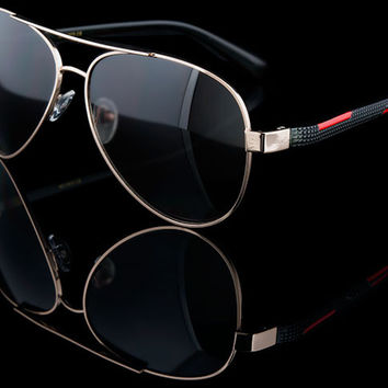 "Red/Black Aviator Racing Sunglasses ""Concorde"""