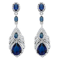 Bella Fashion 925 Sterling Silver Blue Peacock Feather Bridal Earrings Cubic Zircon Dangle Drop Earrings For Wedding Bridesmaid
