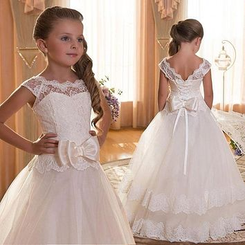 Kids Fancy Girl LacePetals Dress Children Bridesmaid Outfits Elegant Dress for Girl Vestido Party Prom Gown Princess Costume