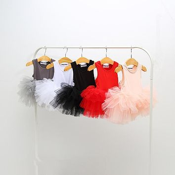 summer kids clothes baby girls Ballet dance Tutu dress children costumes vest sleeveless ball gown party princess dresses