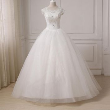 Wedding Dresses Cap Sleeve Sequin Tulle Bride Dress Gowns Floor Length New Designer Back Lace Up
