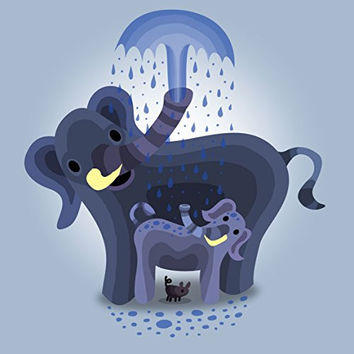 'Elephant Showers' Cute Mom & Baby Trunk Squirting 18x18 - Vinyl Print Poster