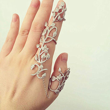 R058 Hollow Flower Leaf Full Finger Rings for Women Chain Link Tassel Double Armor Ring American & European Style