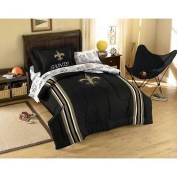 Licensed Official New 5pc NFL New Orleans Saints Bedding Comforter Pillowcase Sheet Set Twin Size