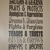 """This Family - Rules - Laughs, Learns, Prays, Protects, etc - 11.5"""" x 24.5"""" - Any Color - Change the rules, Custom Made, High Quality Vinyl"""