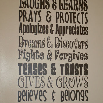 "This Family - Rules - Laughs, Learns, Prays, Protects, etc - 11.5"" x 24.5"" - Any Color - Change the rules, Custom Made, High Quality Vinyl"
