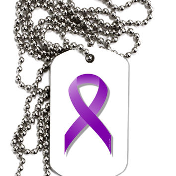 Epilepsy Awareness Ribbon - Purple Adult Dog Tag Chain Necklace