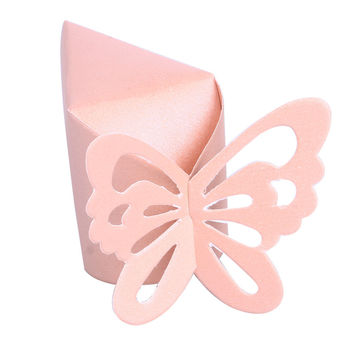 New 50 Pcs Butterfly Favor Gift Candy Boxes Cake Style for Wedding Party Baby Shower