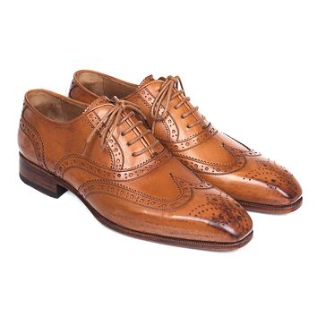 Paul Parkman Wingtip Oxfords Cognac Shoes (ID#5447-CGN)